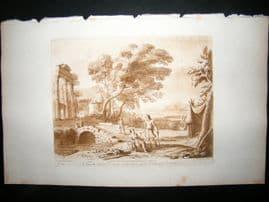 Richard Earlom & Claude Lorrain C1810 Landscape Mezzotint. Liber Veritatis 64