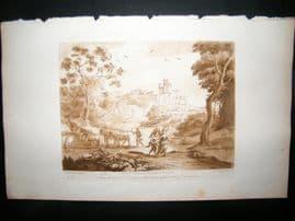 Richard Earlom & Claude Lorrain C1810 Landscape Mezzotint. Liber Veritatis 65