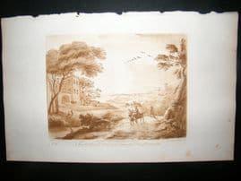 Richard Earlom & Claude Lorrain C1810 Landscape Mezzotint. Liber Veritatis 66
