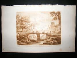 Richard Earlom & Claude Lorrain C1810 Landscape Mezzotint. Liber Veritatis 67
