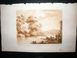 Richard Earlom & Claude Lorrain C1810 Landscape Mezzotint. Liber Veritatis 68