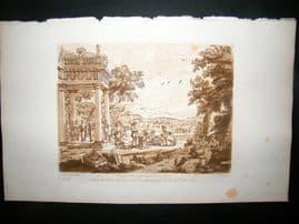 Richard Earlom & Claude Lorrain C1810 Landscape Mezzotint. Liber Veritatis 69