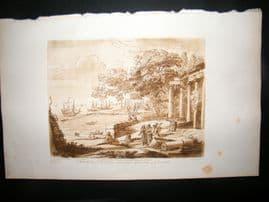 Richard Earlom & Claude Lorrain C1810 Landscape Mezzotint. Liber Veritatis 70