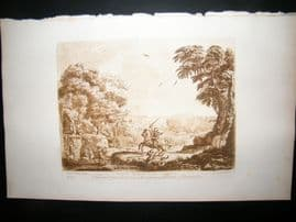 Richard Earlom & Claude Lorrain C1810 Landscape Mezzotint. Liber Veritatis 73