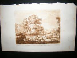 Richard Earlom & Claude Lorrain C1810 Landscape Mezzotint. Liber Veritatis 75