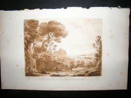 Richard Earlom & Claude Lorrain C1810 Landscape Mezzotint. Liber Veritatis 77