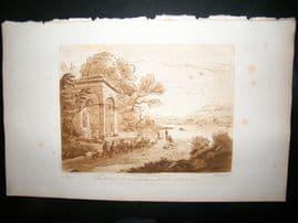 Richard Earlom & Claude Lorrain C1810 Landscape Mezzotint. Liber Veritatis 78