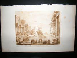Richard Earlom & Claude Lorrain C1810 Landscape Mezzotint. Liber Veritatis 80