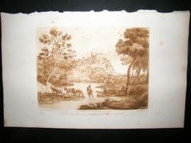 Richard Earlom & Claude Lorrain C1810 Landscape Mezzotint. Liber Veritatis 81