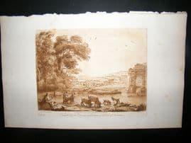 Richard Earlom & Claude Lorrain C1810 Landscape Mezzotint. Liber Veritatis 82