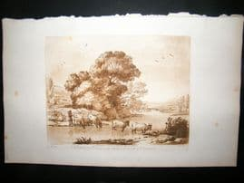 Richard Earlom & Claude Lorrain C1810 Landscape Mezzotint. Liber Veritatis 83