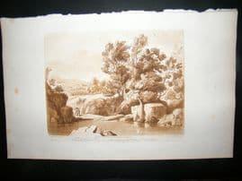 Richard Earlom & Claude Lorrain C1810 Landscape Mezzotint. Liber Veritatis 84