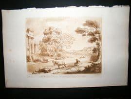 Richard Earlom & Claude Lorrain C1810 Landscape Mezzotint. Liber Veritatis 85