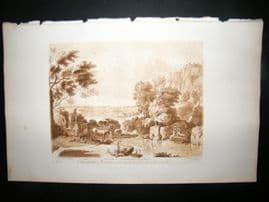 Richard Earlom & Claude Lorrain C1810 Landscape Mezzotint. Liber Veritatis 86