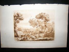Richard Earlom & Claude Lorrain C1810 Landscape Mezzotint. Liber Veritatis 87