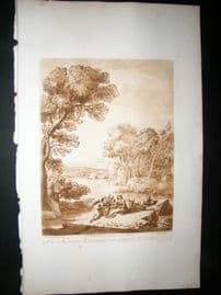 Richard Earlom & Claude Lorrain C1810 Landscape Mezzotint. Liber Veritatis 88