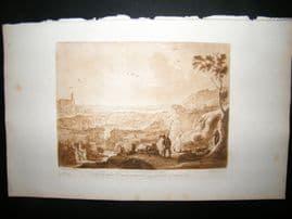Richard Earlom & Claude Lorrain C1810 Landscape Mezzotint. Liber Veritatis 89