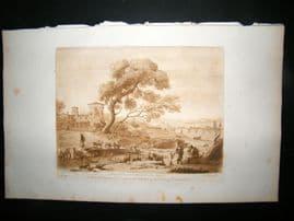 Richard Earlom & Claude Lorrain C1810 Landscape Mezzotint. Liber Veritatis 90