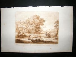 Richard Earlom & Claude Lorrain C1810 Landscape Mezzotint. Liber Veritatis 91