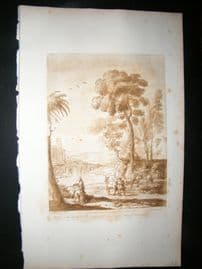 Richard Earlom & Claude Lorrain C1810 Landscape Mezzotint. Liber Veritatis 92