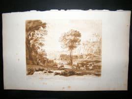 Richard Earlom & Claude Lorrain C1810 Landscape Mezzotint. Liber Veritatis 93