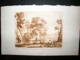 Richard Earlom & Claude Lorrain C1810 Landscape Mezzotint. Liber Veritatis 94