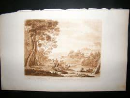 Richard Earlom & Claude Lorrain C1810 Landscape Mezzotint. Liber Veritatis 95