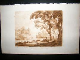 Richard Earlom & Claude Lorrain C1810 Landscape Mezzotint. Liber Veritatis 97