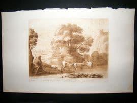 Richard Earlom & Claude Lorrain C1810 Landscape Mezzotint. Liber Veritatis 98