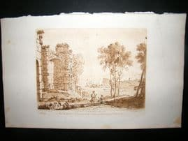 Richard Earlom & Claude Lorrain C1810 Landscape Mezzotint. Liber Veritatis 99