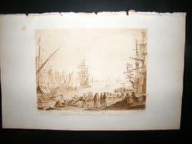 Richard Earlom & Claude Lorrain C1810 Landscape Mezzotint. Ships 31