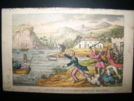 Rowlandson Naval Johnny Newcombe 1818 H/Col Jamaica, running from Black Squadron