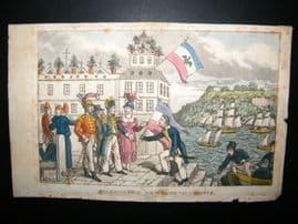 Rowlandson Naval Johnny Newcombe 1818 Hand Col. Palermo Pier, Sicily