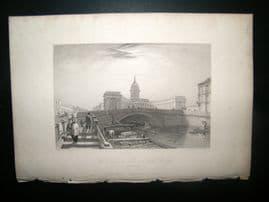 Russia 1838 Antique Print. Karzan Church & Bridge, St. Petersburg