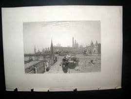 Russia 1838 Antique Print. The Kremlin, Moscow