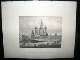 Russia 1847 Antique Print. Cathedral of St. Basil, Moscow