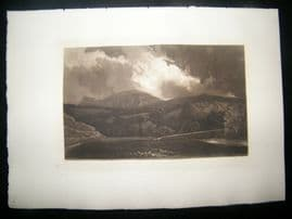 S. W. Reynolds after T. Girtin 1885 Mezzotint. Landscape with Hill & Cloud