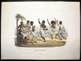 Schinz 1845 Antique Hand Col Print. Baduka Indian Dance, Brazil 29