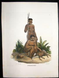 Schinz 1845 Antique Hand Col Print. Bodocudos Indians, Brazil 26