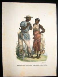Schinz 1845 Antique Hand Col Print. Brazil, Negroes 23