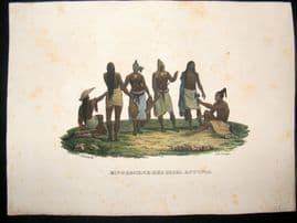Schinz 1845 Antique Hand Col Print. Butuma, Fiji Indians, Pacific 50