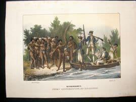 Schinz 1845 Antique Hand Col Print. Captain Cook Landing, Malakula, Pacific 39