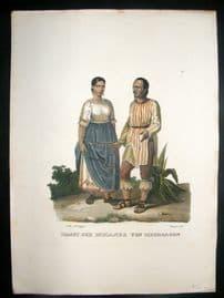 Schinz 1845 Antique Hand Col Print. Indians, Mexico 40
