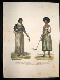 Schinz 1845 Antique Hand Col Print. Indians of Sao Paulo, Brazil 41