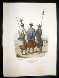 Schinz 1845 Antique Hand Col Print. Indo-China Soldiers 24