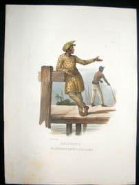 Schinz 1845 Antique Hand Col Print. Malayan Fisherman, Amboine, East Indies 25