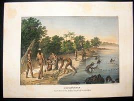 Schinz 1845 Antique Hand Col Print. Natives Fishing, Mariana Islands, Pacific 42