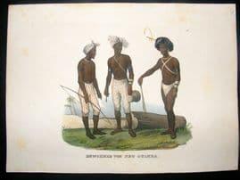 Schinz 1845 Antique Hand Col Print. Natives of Papua New Guinea, Pacific 27