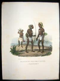 Schinz 1845 Antique Hand Col Print. Natives of Vanikoro, Pacific 7