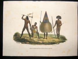 Schinz 1845 Antique Hand Col Print. Papua Natives, Pacific 52